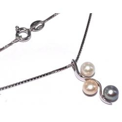Collier argent 2,8g 40cm perles véritables