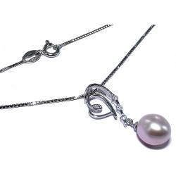 Collier argent 3,1g 40 cm perles véritables et zircons