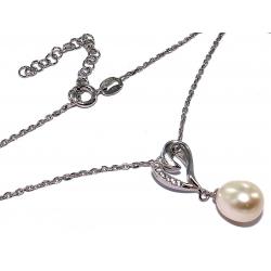 Collier argent 3,2g 38+5cm perles véritables et zircons