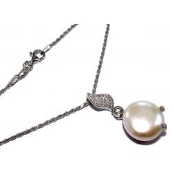 Collier argent 4g 45cm perles véritables zircons