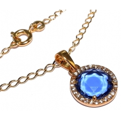 Collier plaqué or 40cm zircons imitation tanzanite