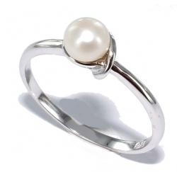 Bague argent 1,1g rhodié perles véritable