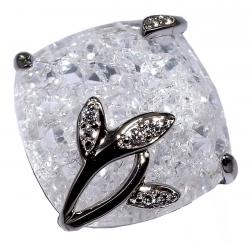 Bagues argent bague argent rhodié 3,8g quartz cristal  et zircons t 50 à 60