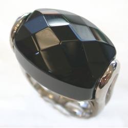 Bague rhodiée véritable obsidienne 3 tailles