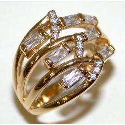 Bague plaquée or 3 microns t 50 à 60 zircons