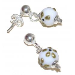 B.o argent rhodié 1g perles de verre