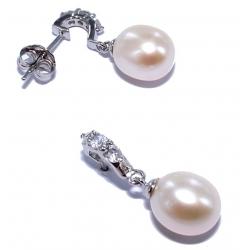 Bo argent rhodiée 1,5g perles véritables zircons
