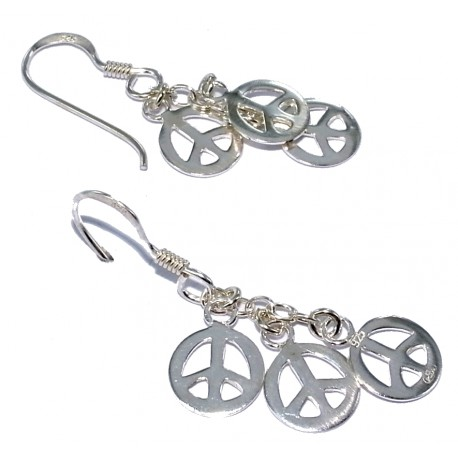 Bo argent 1 8g peace and love les perles de v nus - Boucle d oreille peace and love ...