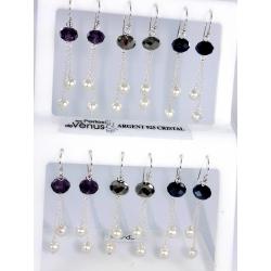 Presentoirs argent présentoir 6prs bo argent 6g cristal et perles imitation