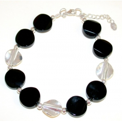 Bracelet argent 4g 18+2cm onyx