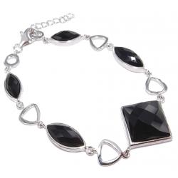 Bracelet argent rhodie 6g 19cm onyx