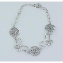 Bracelet argent rhodie 5.6g 20cm zircons blancs