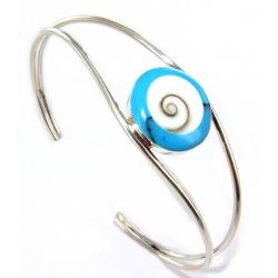 Bracelet rigide argent6.6g howlite oiel de shiva