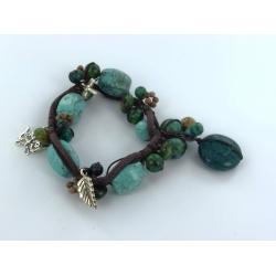 Bracelet argent 2g 22cm howlite, jaspe, coton