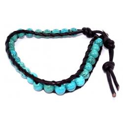 Bracelet argent 0,5g cuir howlite teintée turquoise