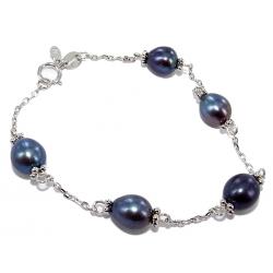 Bracelet argent rhodié 1,5g 18cm perles véritables