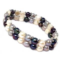 Bracelet argent rhodié1,2g élastique perles véritables