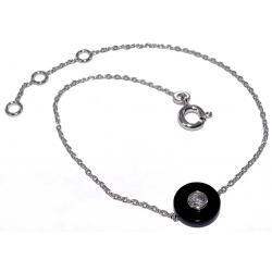 Bracelets argent bracelet argent rhodié 1,3g 17+2cm onyx et zircon