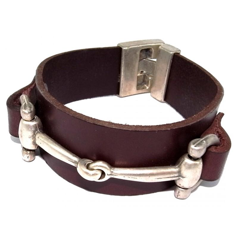 49f1e283063e Bracelet cuir marron   mors et cheval métal 18cm - Les Perles de Vénus