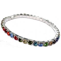 Lot de 5 bracelets fantaisie elastique strass multicolore