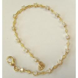 Bracelet plaqué or 20cm zircon