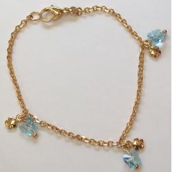 Bracelet plaqué or 18cm papillon cristal