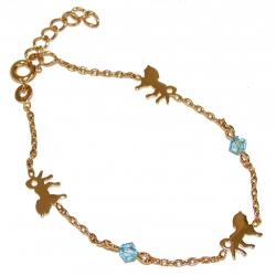 Bracelet plaqué or 16+3cm cristal