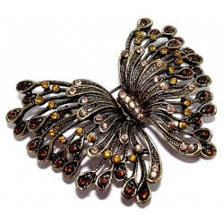 Broche fantaisie finition braonze papillon strass