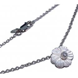 Collier argent 3,2g rhodié 40cm nacre et zircon