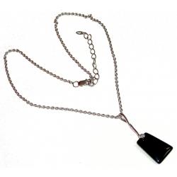 Collier argent 6,2g rhodié 40+5cm onyx et zircon