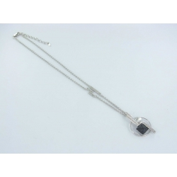 Collier argent rhodie 10,5g 40+5cm résine et zircons blancs