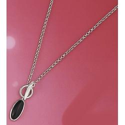 Collier argent 6,2g 40cm rhodié onyx
