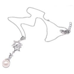 Collier argent 2,8g 40+3cm rhodié zircon et perles véritables