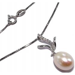collier argent rhodié  3,3g 40cm perles véritables et zircons