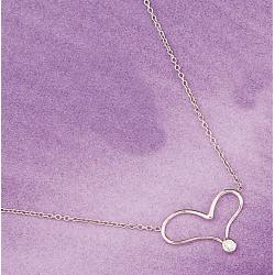 collier plaqué or 42cm motif coeur+cz