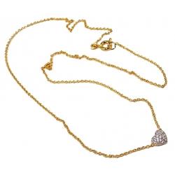 Collier plaqué or 2 tons 38+4cm coeur zircons
