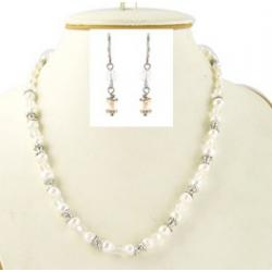 Parure fantaisie collier perles 42+5cm +bo