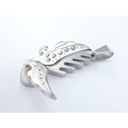 Pendentif acier mat et brillant zircons ailes