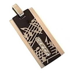 pendentif acier musique zircons