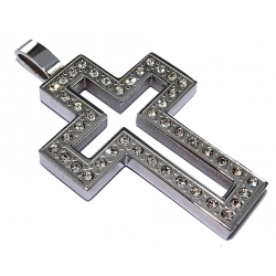 Pendentif acier pendentif acier croix strass