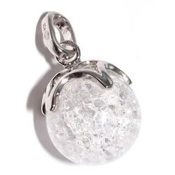 Pendentif argent rhodié 1,1g cristal craquel