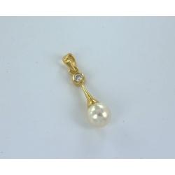 Pendentif plaqué or zircon perles imitation