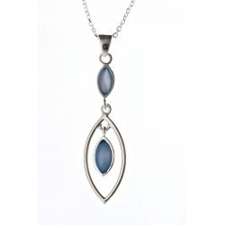 Collier argent 5,3g nacre bleue 45 cm