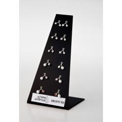 Présentoir 6 prs Bo argent 3g cristal et perles imitation