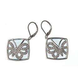 Boucles d'oreille en acier verre et strass preciosa