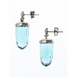 Boucles d'oreille en acier et verre turquoise