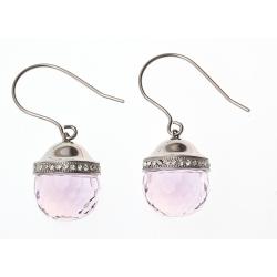 Boucles d'oreille en acier, verre rose et strass preciosa