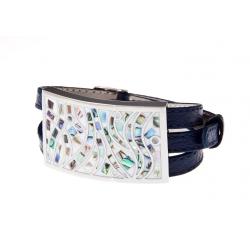 Bracelet acier émail, nacre abalone et cuir bleu foncé - 3 rangs de 0,8cm réglable