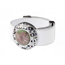 Bracelet acier émail, nacre abalone et cuir blanc - largeur 2cm - longueur 23,5cm