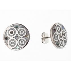 Boucles d'oreille acier nacre abalone et émail